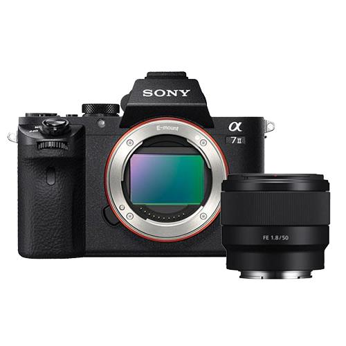 a7 MKII Mirrorless Body + FE 50mm f/1.8 Lens Product Image (Primary)