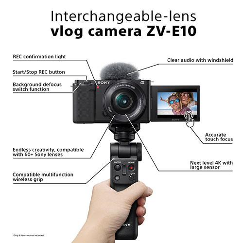 ZV-E10 Mirrorless Vlogger Camera with 16-50mm Lens Creator Kit and Sony 10-18mm Lens Product Image (Secondary Image 4)