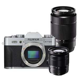 Buy Fujifilm X-T20 Mirrorless Camera Body in Silver with XC 16-50mm lens and XC 50-230mm Lens from Jessops