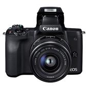 A picture of Canon EOS M50 Mirrorless Camera in Black with EF-M 15-45mm IS STM Lens