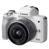 A picture of Canon EOS M50 Mirrorless Camera in White with EF-M 15-45mm IS STM Lens