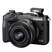 A picture of Canon EOS M6 Mirrorless Camera in Black with 15-45mm Lens