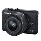 A picture of Canon EOS M200 Mirrorless Camera in Black with EF-M 15-45mm Lens