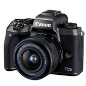 A picture of Canon EOS M5 Mirrorless Camera in Black with EF-M 15-45mm f/3.5-6.3 IS STM Lens - Ex Display