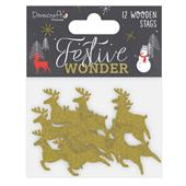 A picture of Dovercraft Premium Festive Wonder Glittered Wooden Stags