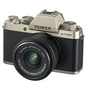 A picture of Fujifilm X-T100 Mirrorless Camera in Champagne Gold + XC15-45mm lens