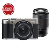 A picture of Fujifilm X-A5 Mirrorless Camera In Dark Silver with XC15-45mm Lens and XC50-230mm f/4.5-6.7 OIS II Lens