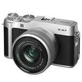 A picture of Fujifilm X-A7 Mirrorless Camera in Silver with XC15-45mm Lens