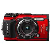 A picture of Olympus Tough TG-5 Digital Camera in Red with Blue Neoprene Case