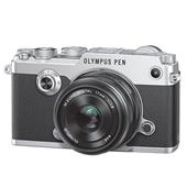 A picture of Olympus PEN-F Mirrorless Camera in Silver with 17mm f/1.8 Lens - Ex Display