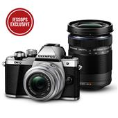 A picture of Olympus OM-D E-M10 Mark II Compact System Camera in Silver with 14-42mm and 40-150mm Lenses