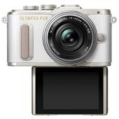 A picture of Olympus PEN E-PL8 Mirrorless Camera in White with 14-42mm EZ Lens