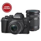 A picture of Olympus OM-D E-M10 Mark II Compact System Camera in Black with 14-42mm and 40-150mm Lenses - Ex Display