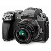 A picture of Panasonic Lumix DMC-G7 Mirrorless Camera in Silver with 14-42mm and 45-150mm Lenses