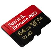 A picture of SanDisk Extreme Pro microSDXC 64GB 170MB/s UHS-I Memory Card with Adapter