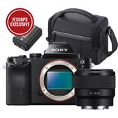 A picture of Sony a7 Mirrorless Camera Body with 50mm f/1.8 Lens, Sony Bag and Spare Battery