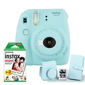 A picture of Instax mini 9 Instant Camera in Ice Blue with Instax Accessory Kit and Film Pack