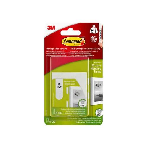 3M Command Poster Medium Picture Hanging Strips 12 Sets x 2 Pack