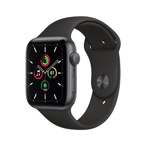 Apple Watch SE GPS in Space Grey with Black Sport Band 44mm