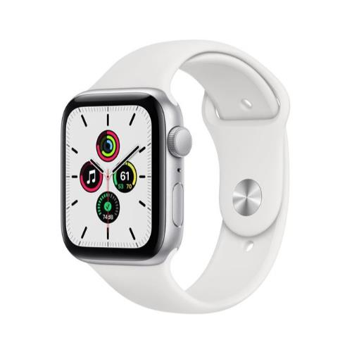 Apple Watch SE GPS in Silver with White Sport Band 44mm