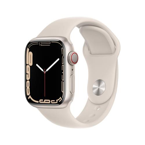 Apple Watch Series 7 GPS + Cellular 41mm Starlight Aluminium Case with Starlight Sport Band - Regular