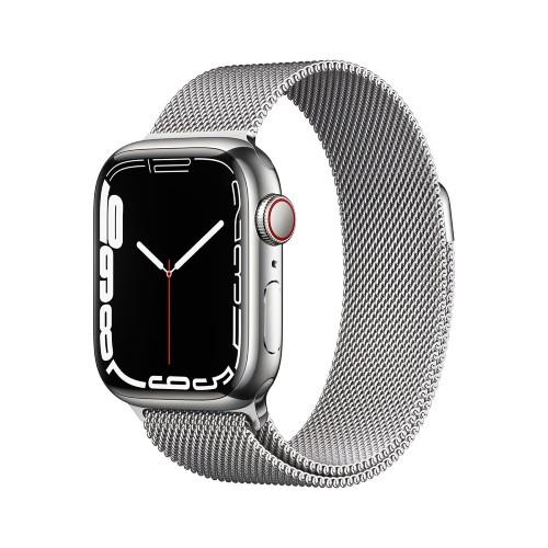 Apple Watch Series 7 GPS + Cellular 41mm Silver Stainless Case with Silver Milanese Loop