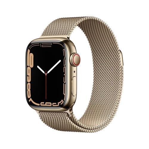 Apple Watch Series 7 GPS + Cellular 45mm Gold Stainless Case with Gold Milanese Loop