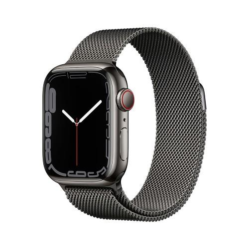 Apple Watch Series 7 GPS + Cellular 45mm Graphite Stainless Case with Graphite Milanese Loop