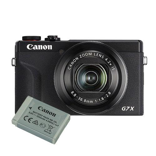 Canon PowerShot G7 X Mark III Digital Camera in Black with Extra Battery