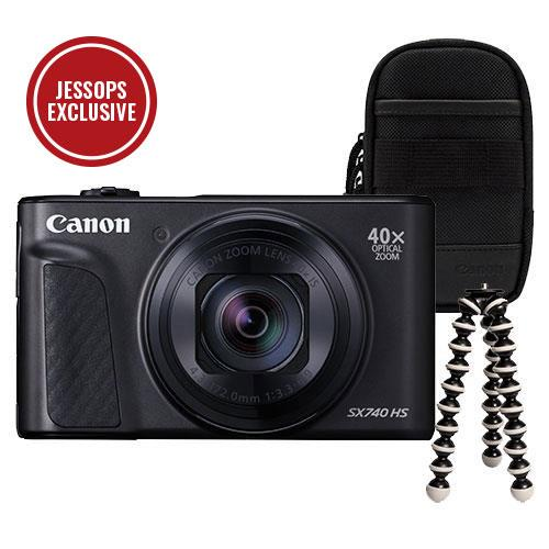 Canon PowerShot SX740 HS Camera in Black with Case + Joby GorillaPod Mini Tripod