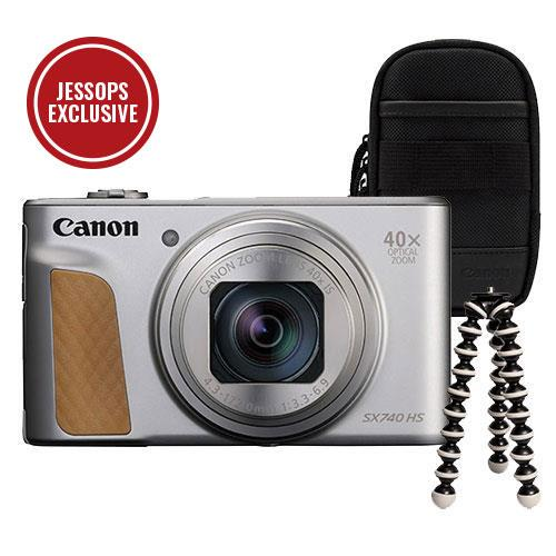 Canon PowerShot SX740 HS Camera in Silver with Case + GorillaPod Mini Tripod
