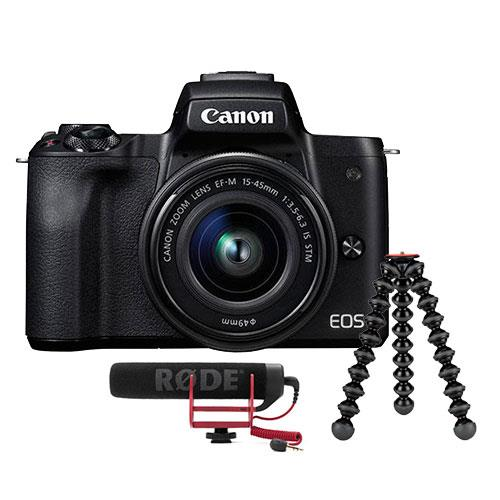 Canon EOS M50 Mirrorless Camera in Black with EF-M 15-45mm IS STM Lens with Vlogger Kit