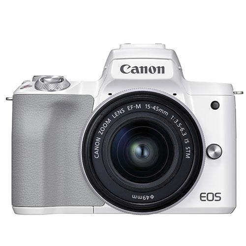Canon EOS M50 Mark II Mirrorless Camera in White with EF-M 15-45mm Lens