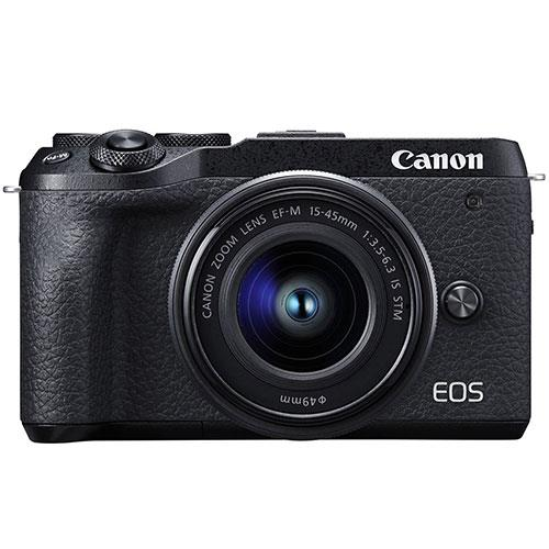 Canon EOS M6 Mark II Mirrorless Camera in Black with EF-M 15-45mm IS STM Lens and EVF-DC2 Viewfinder
