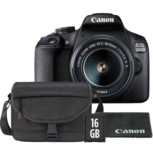 Canon EOS 2000D Digital SLR with EF-S 18-55mm IS II Lens, Canon Bag, 16GB Card and Lens Cloth