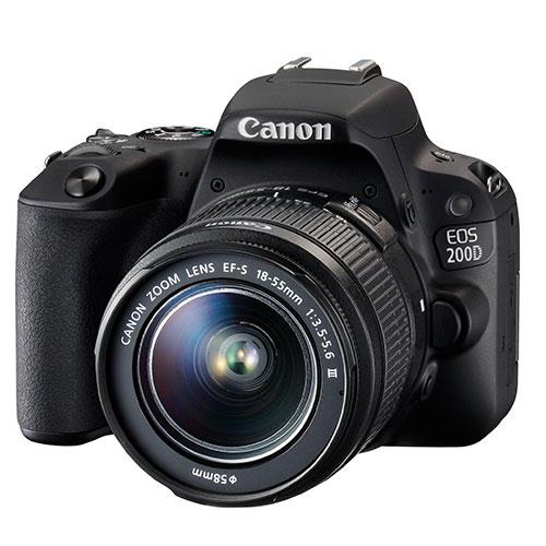 Canon EOS 200D DSLR in Black with 18-55mm f/3-5-5-6 III DC Lens