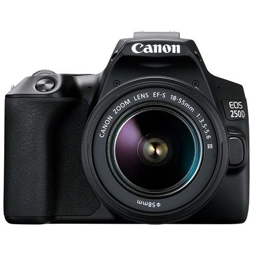 Canon EOS 250D Digital SLR in Black with 18-55mm f/3.5-5.6 III DC Lens