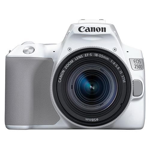 Canon EOS 250D Digital SLR in White with 18-55mm f/4.0-5.6 STM IS Lens
