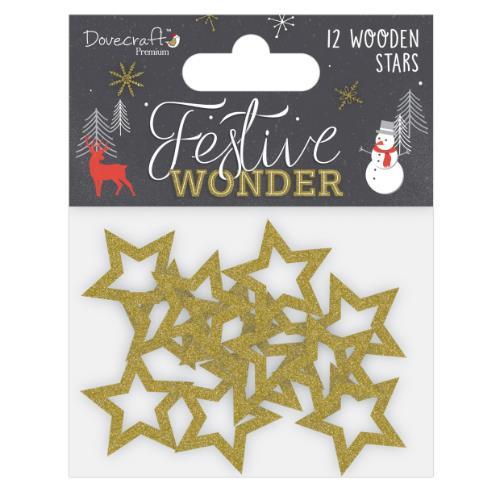 Dovercraft Premium Festive Wonder Glittered Wooden Stars