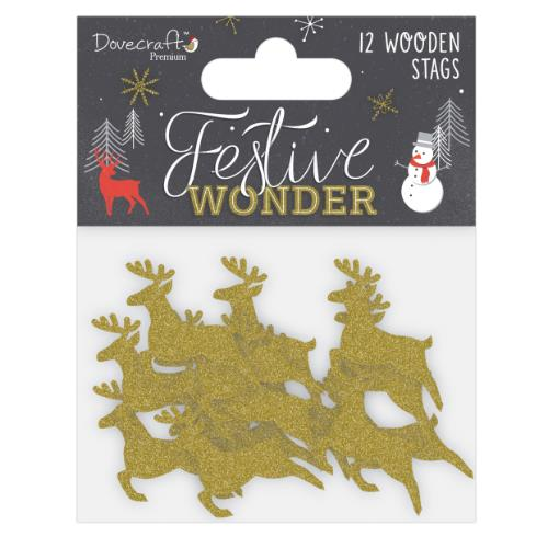 Dovercraft Premium Festive Wonder Glittered Wooden Stags