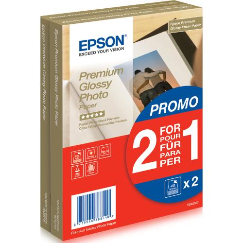 Epson Premium Glossy Photo paper 10x15cm 40 Sheets x2