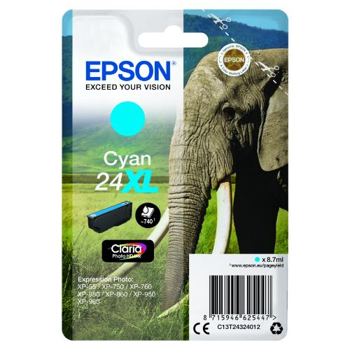 Epson Cyan 24XL Claria Photo HD Ink