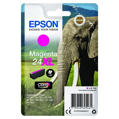 Epson Magenta 24XL Claria Photo HD Ink