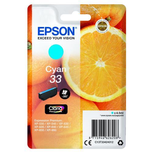 Epson Cyan 33 Claria Premium Ink
