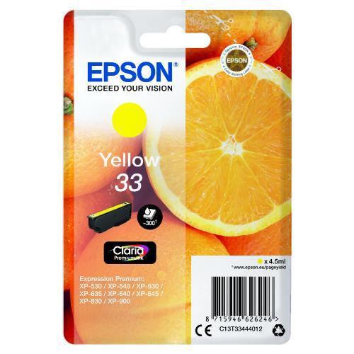 Epson Yellow 33 Claria Premium Ink