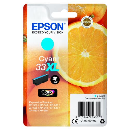 Epson Cyan 33XL Claraia Premium Ink