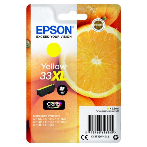 Epson Yellow 33XL Claria Premium Ink