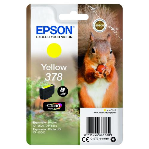 Epson Yellow 378 Claria Photo HD Ink