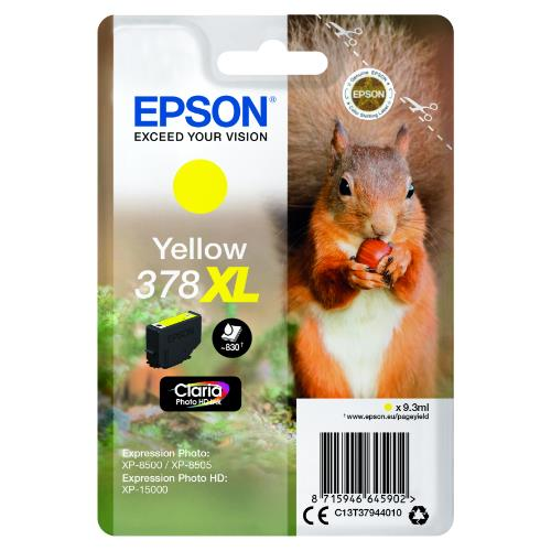 Epson Yellow 378XL Claria Photo HD Ink