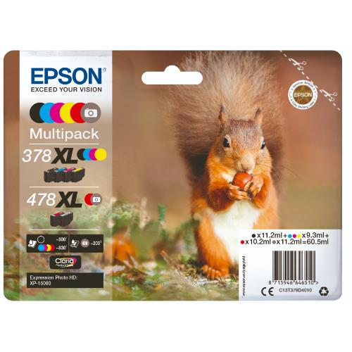 Epson Squirrel Multipack 6-colours 378XL/478XL Claria Photo HD Ink
